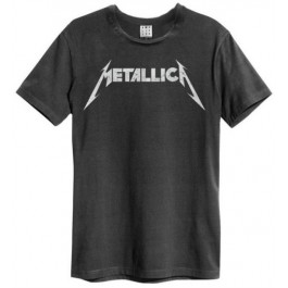 Metallica Logo Amplified Vintage Charcoal Small T Shirt