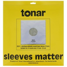 Tonar Plastipap 12inch vinyl inner record sleeves (40μm, pack of 25)